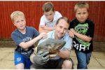 Kids find shark head in a village stream